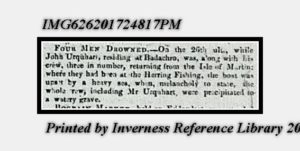 Death by drowning announcement from 19th November 1830