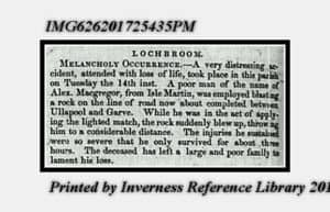 Newspaper death announcement from August 1849