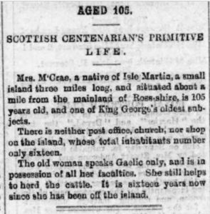 Newspaper clipping Mrs McRae from Isle Martin 105 years old