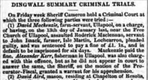 Newspaper clipping from Dingwall 1858 about a bar brawl