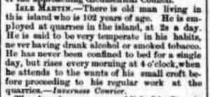 Newspaper clipping mentioned Isle Martin man of 102 in 1869
