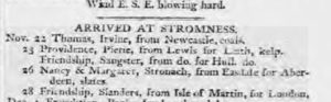 Newspaper cutting from Stromness in 1799