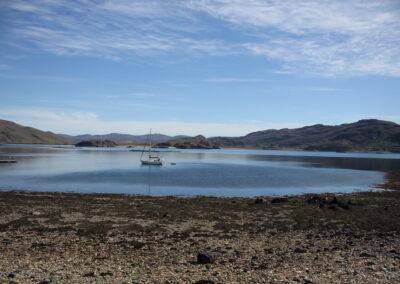 Sail boat in Isle Martin bay